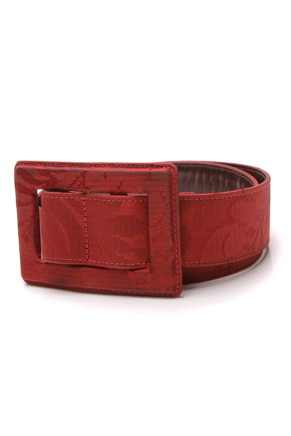 Oscar de la Renta Jacquard Belt Red Size Medium