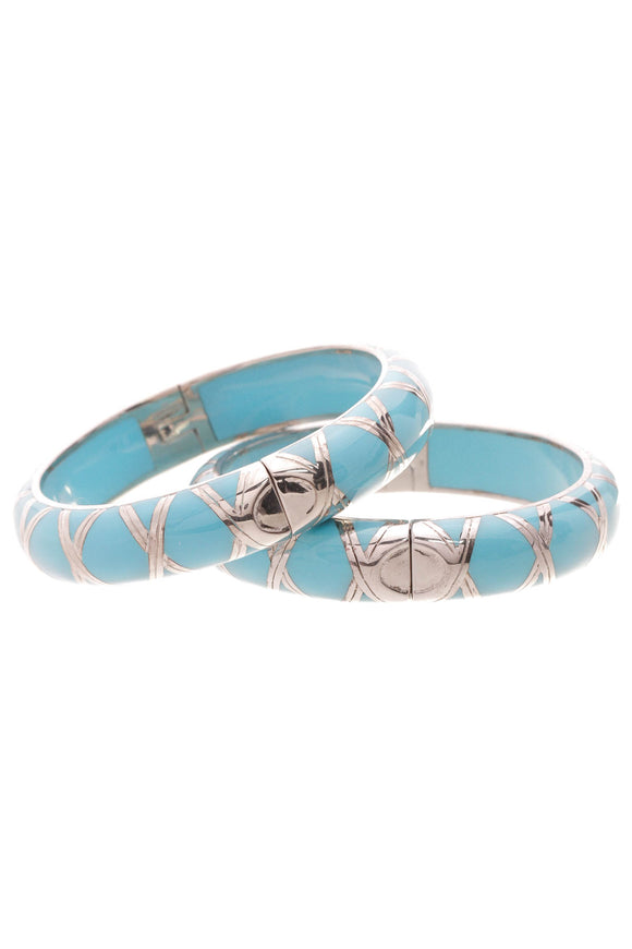 Angelique de Paris Hinged Bangle Bracelet Set Turquoise Blue Silver