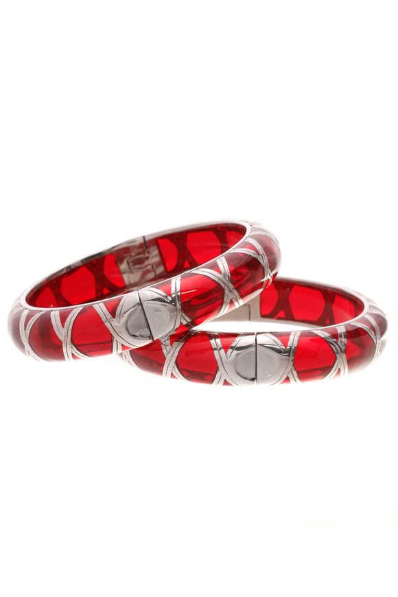 Angelique de Paris Hinged Bangle Bracelet Set Red Silver