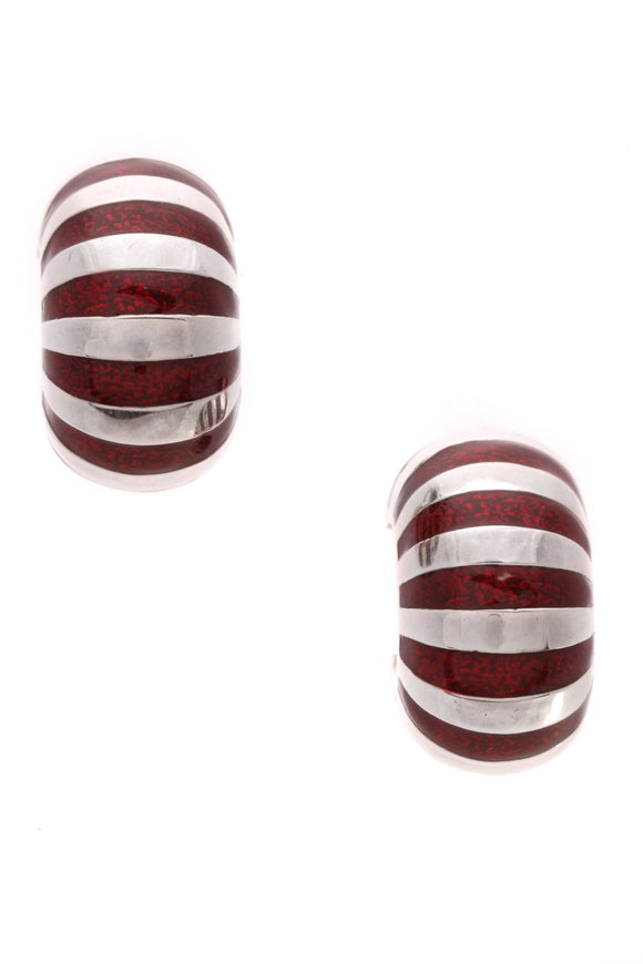 Tiffany & Co. Striped Enamel Shrimp Clip-On Earrings Silver Red