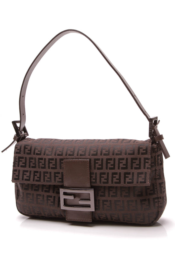 Fendi Baguette Bag Zucchino Canvas Brown