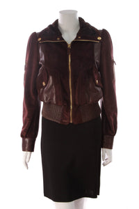 Gucci Suede Astrakhan Bomber Jacket Bordeaux Size Medium Burgundy