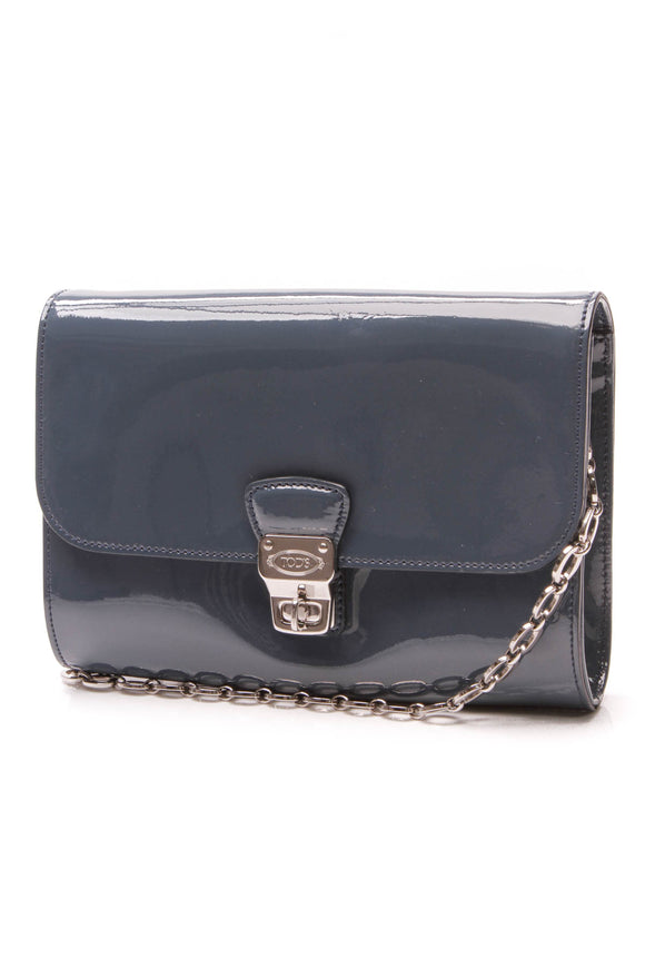TODs Claret Chain Shoulder Bag Blue Patent