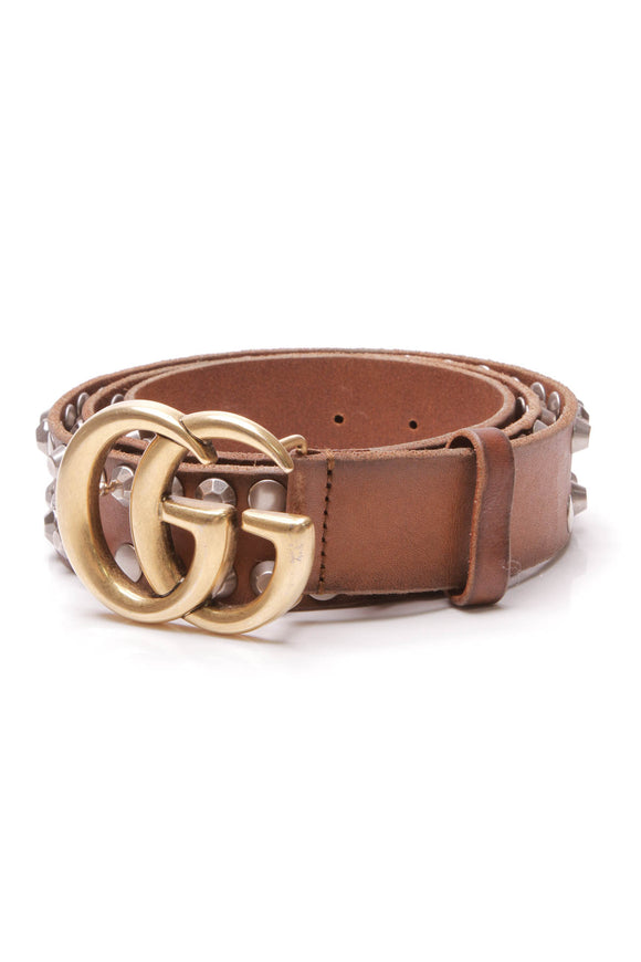Gucci Marmont Studded Men's Belt Brown Size 40