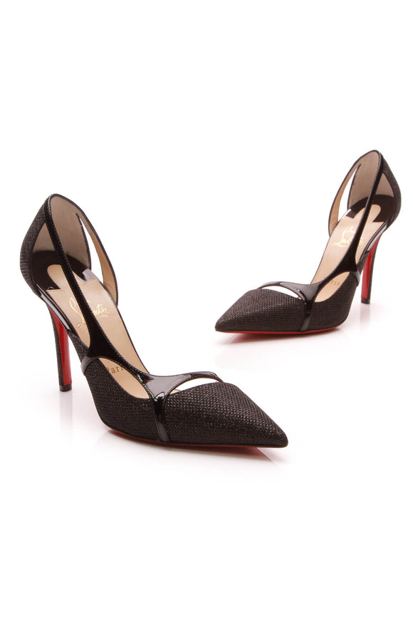 Christian Louboutin Glitter Edith 100 Pumps Black Size 37
