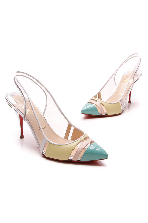 Christian Louboutin Highway 85 PVC Slingback Pumps Multicolor Size 38.5
