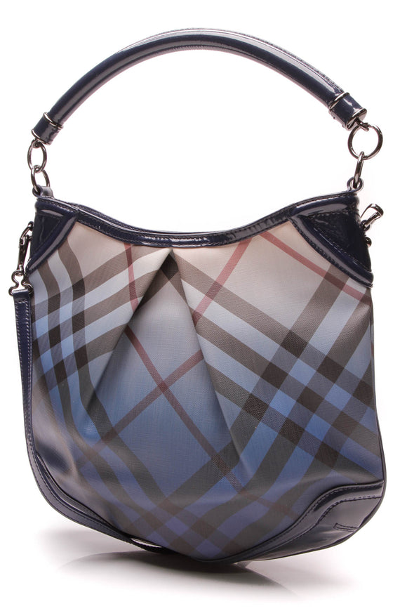 Burberry Pop Degrade Medium Craigwell Hobo Bag Ombre Jet Blue Nova Check