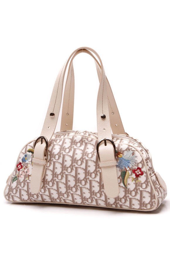 Christian Dior Floral Embroidered Satchel Bag Beige Diorissimo