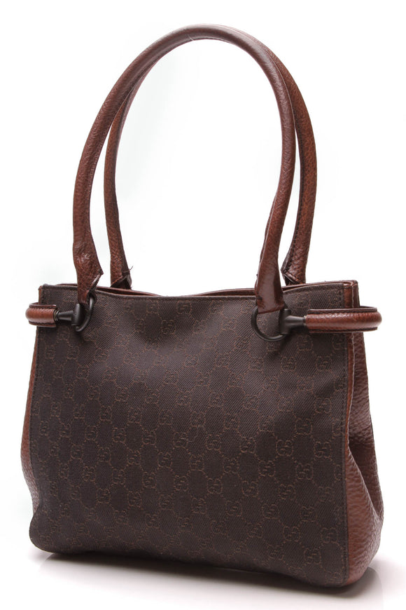 Gucci Square Tote Bag Dark Brown Signature Canvas