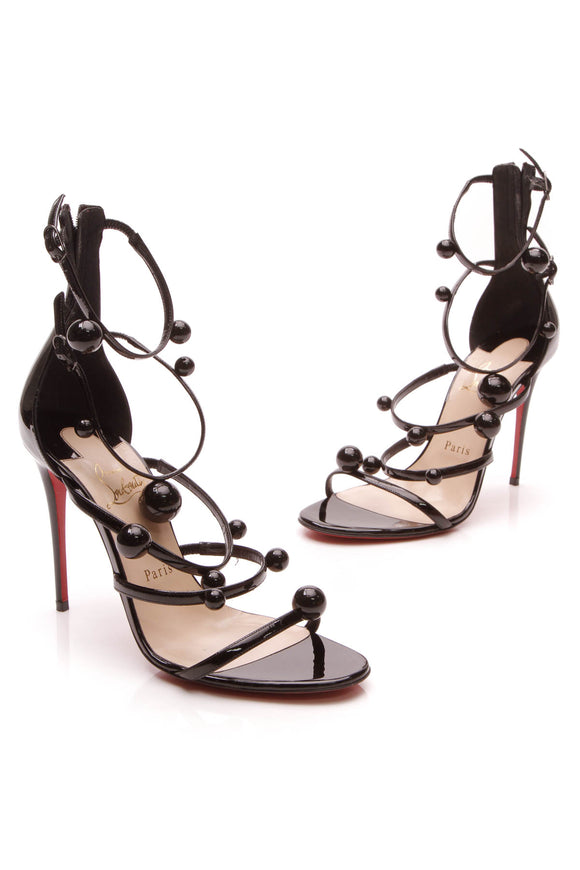 Christian Louboutin Atonana 100 Heeled Sandals Black Patent Size 38.5