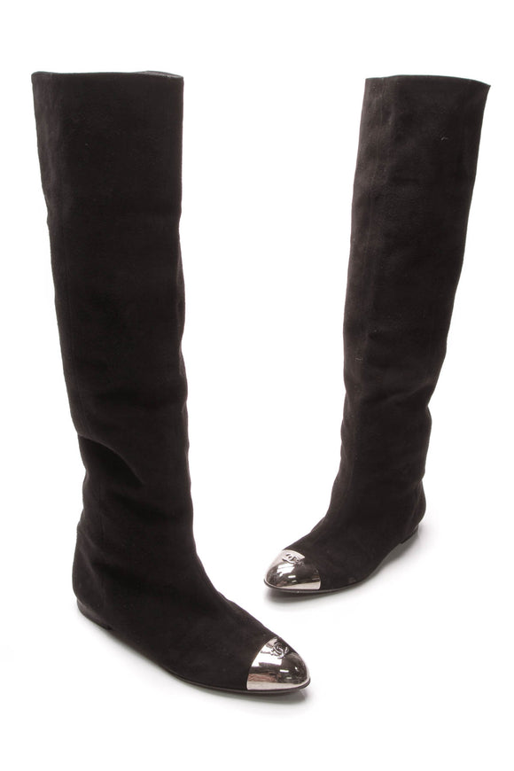 Chanel CC Knee-High Cap-Toe Boots Black Suede Size 41