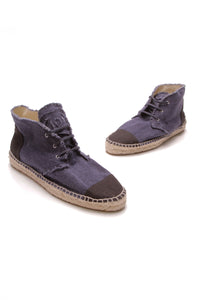 Chanel Lace-Up Denim High-Top Espadrilles Blue Black Size 42