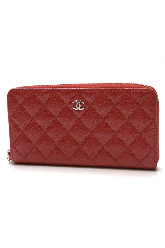 Chanel Quilted Zippy Wallet Red Caviar