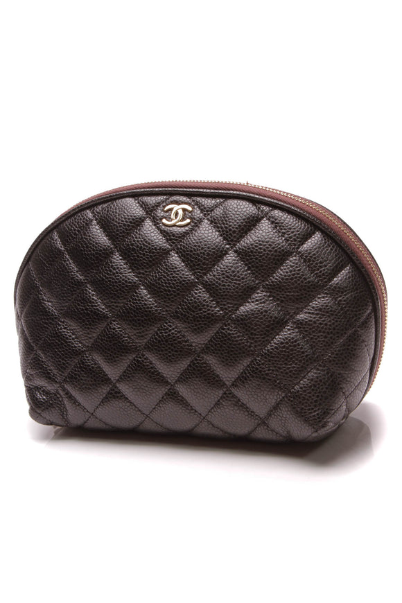 Chanel Quilted Large Cosmetics Pouch Black Caviar