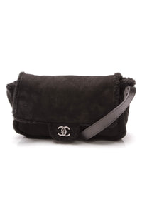 Chanel Shearling Flap Crossbody Bag Black
