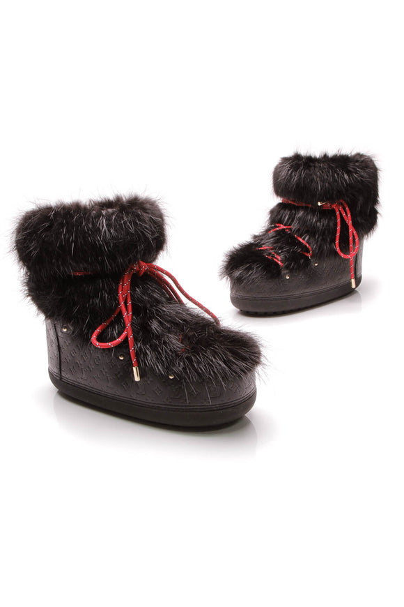 Louis Vuitton Fur Off Piste Moon Half Boots Black