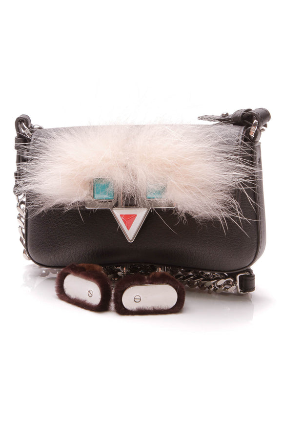 Fendi Micro Monster Mini Baguette Crossbody Bag Black