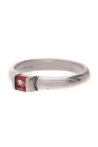 Tiffany & Co. Pink Tourmaline Stacking Ring Silver Size 6.75