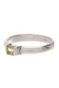 Tiffany & Co. Peridot Stacking Ring Silver Size 6.75 Green