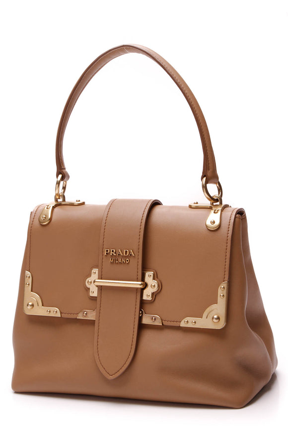 Prada Cahier Top Handle Bag Tan