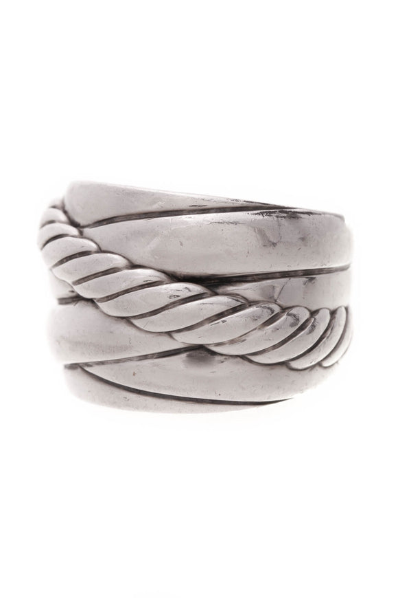 David Yurman Wide Cable Crossover Ring Silver Size 5.5