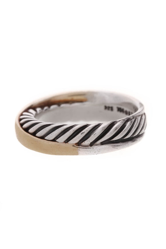 David Yurman Cable Crossover Ring Silver Gold Size 6