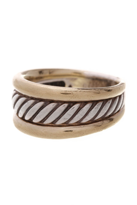 David Yurman Cigar Cable Band Ring Silver Gold Size 5.75