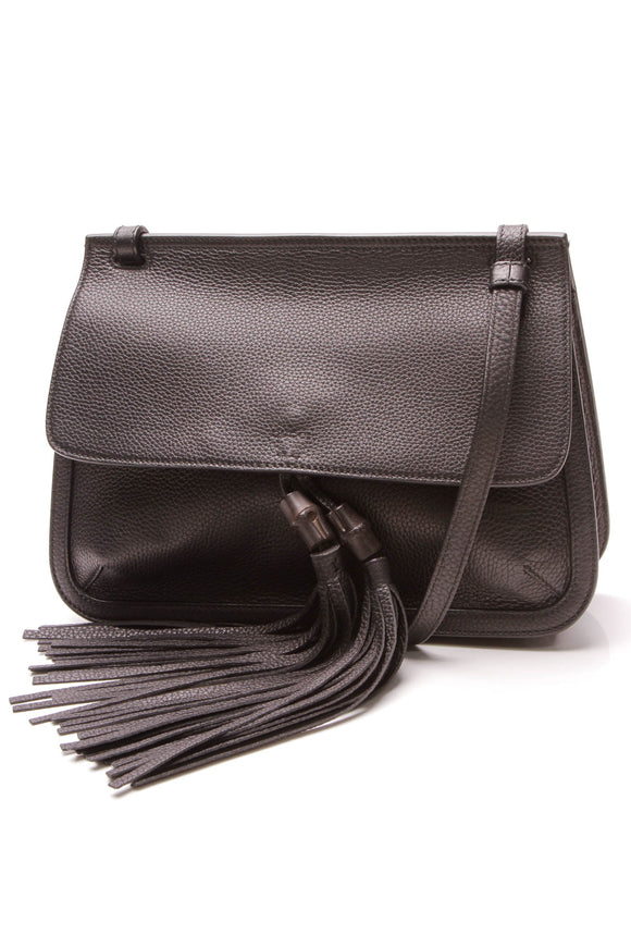 Gucci Bamboo Tassel Daily Flap Shoulder Bag Black