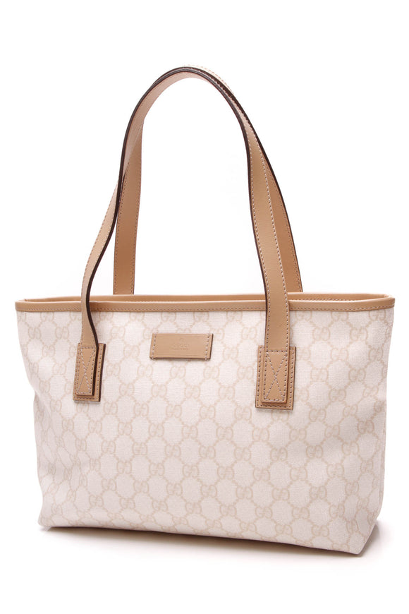 Gucci Zip Top Tote Bag Supreme Canvas White