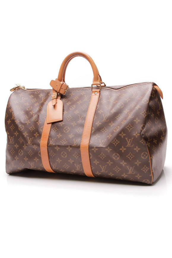Louis Vuitton Vintage Keepall 50 Travel Bag Monogram Brown