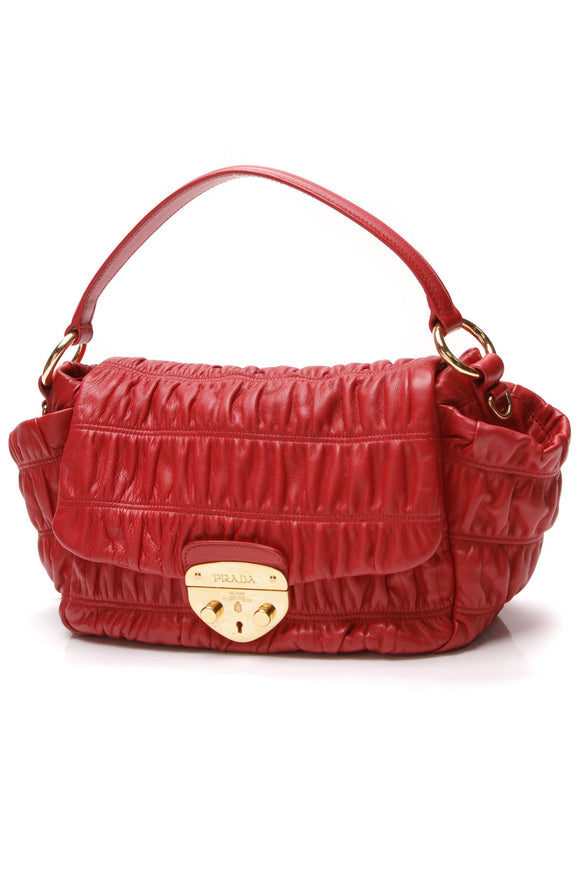 Prada Gaufre Flap Bag Red