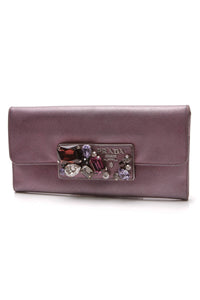 Prada Jewel Embellished Continental Wallet Metallic Purple