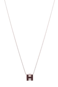 Hermes Cage D' H Necklace Plum Purple