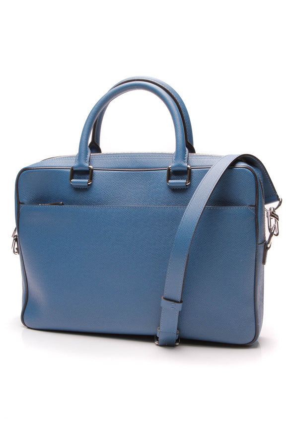 Louis Vuitton Ardoise Porte-Documents Business Briefcase Blue Taiga