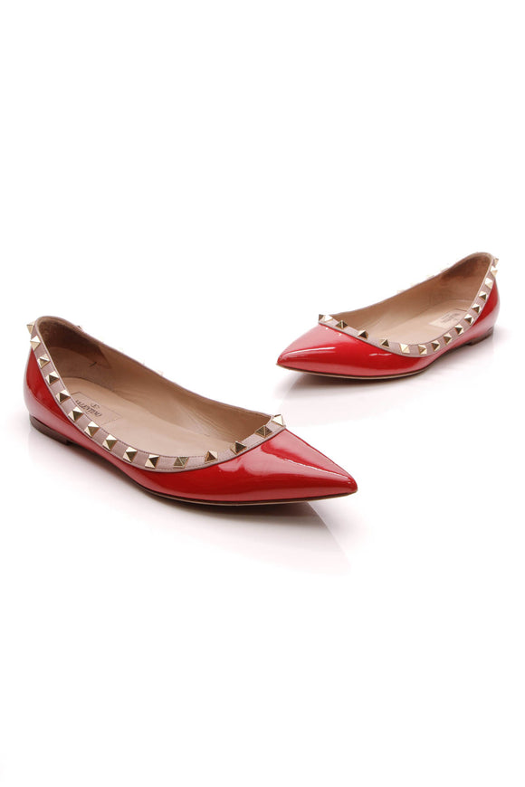 Valentino Rockstud Ballet Flats Red Patent Size 38