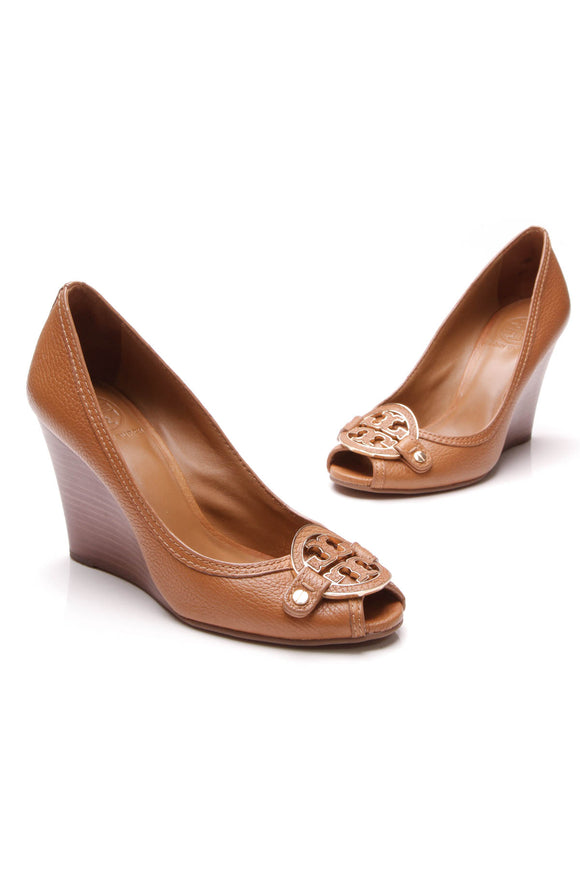 Tory Burch Amanda Open-Toe Wedges Tan Size 7.5