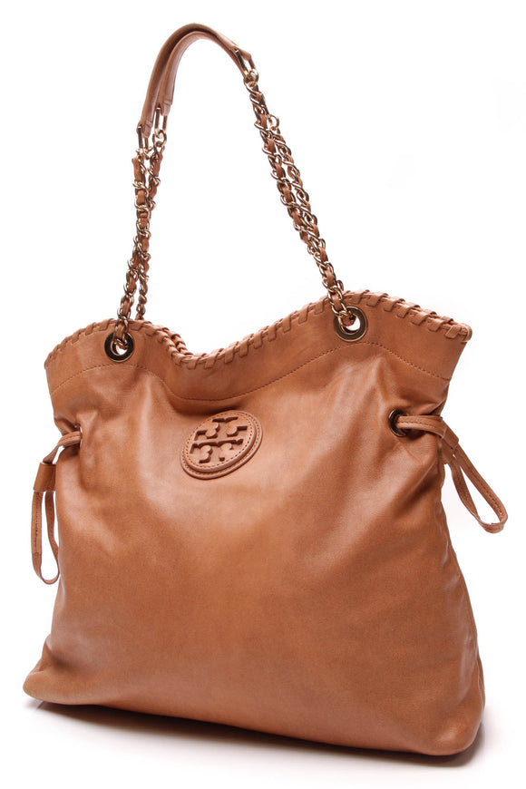 Tory Burch Marion Slouchy Tote Bag Bark Tan