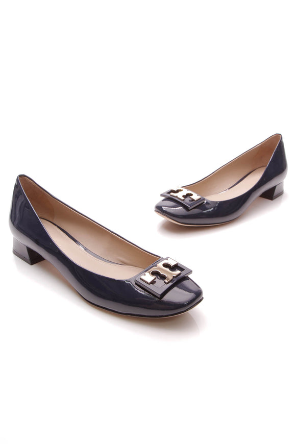 Tory Burch Gigi Block Kitten Heel Pumps Navy Patent Size 8
