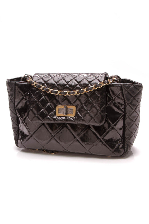 Chanel Reissue Accordion Bag Black Glazed Calfskin