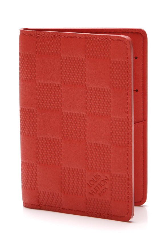 Louis Vuitton Pocket Organizer Wallet Red Damier Infini