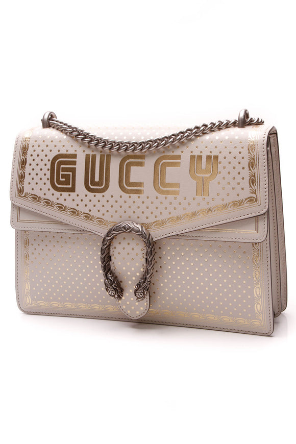 Gucci Guccy Medium Dionysus Shoulder Bag White Gold