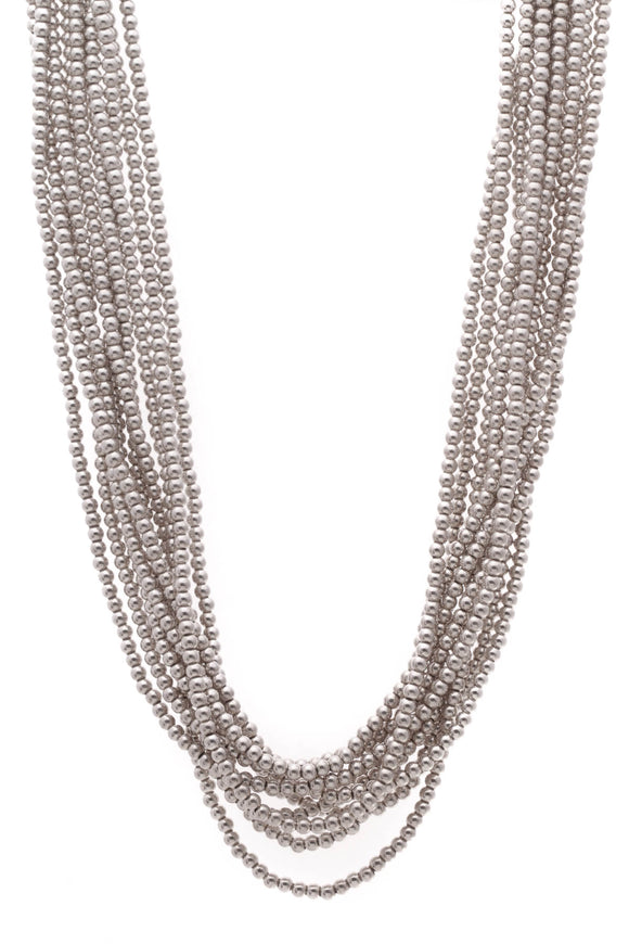 Tiffany & Co. Torsade Bead Multi-Strand Necklace Silver