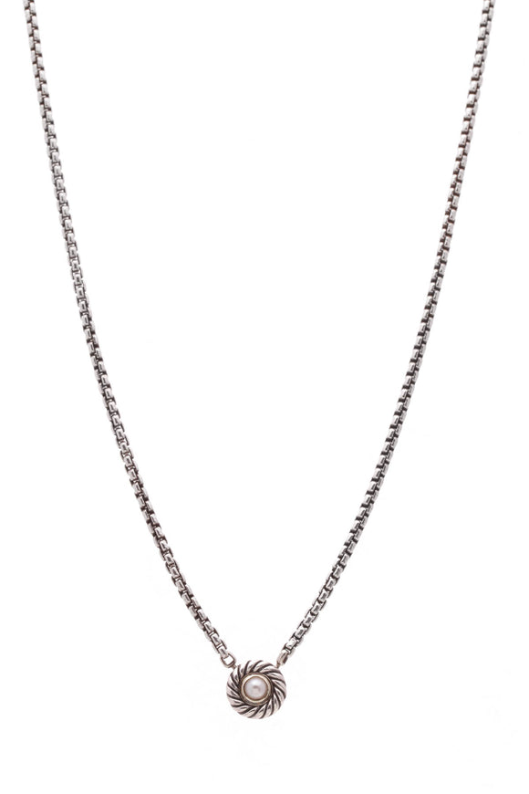 David Yurman Classic Cookie Pearl Necklace Silver Gold