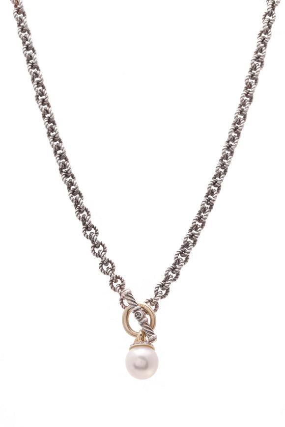 David Yurman Pearl Diamond Drop Toggle Necklace Silver Gold