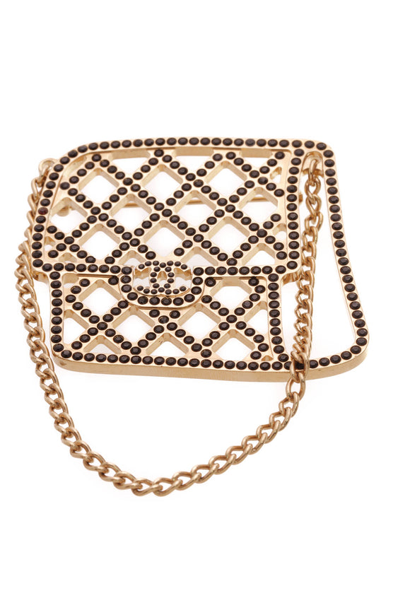 Chanel Crystal Flap Bag Brooch Gold