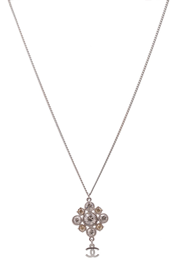 Chanel Crystal CC Drop Pendant Necklace Silver