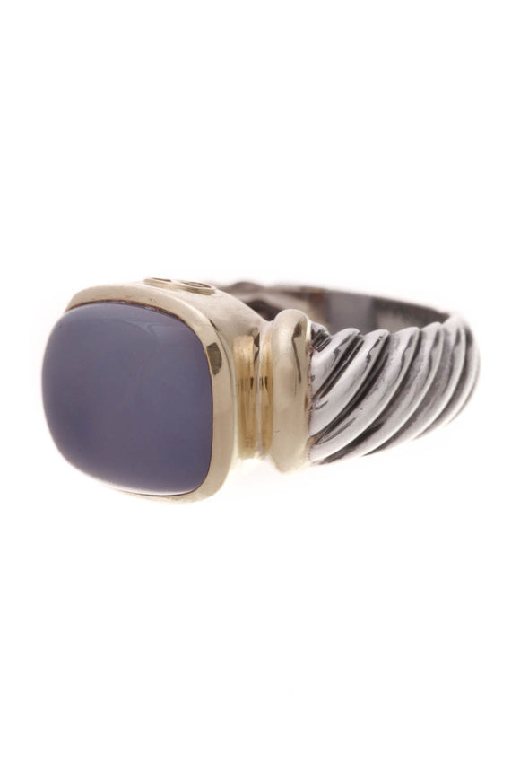 David Yurman Chalcedony Noblesse Ring Silver Gold Size 7