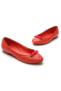 Tory Burch Quilted Marion Flats Red Orange Size 8