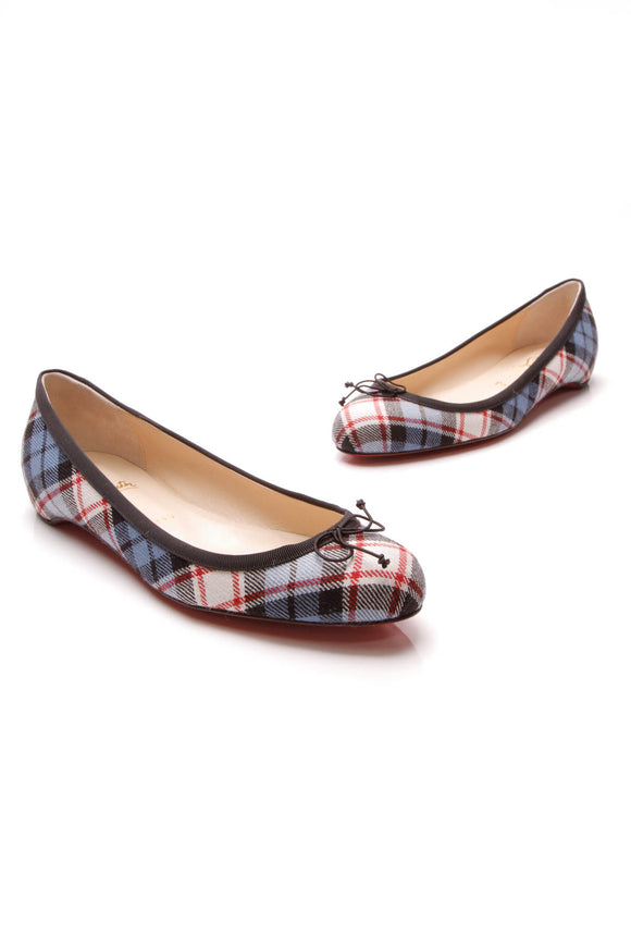 Christian Louboutin Sonietta Plaid Ballet Flats Blue Red Size 40