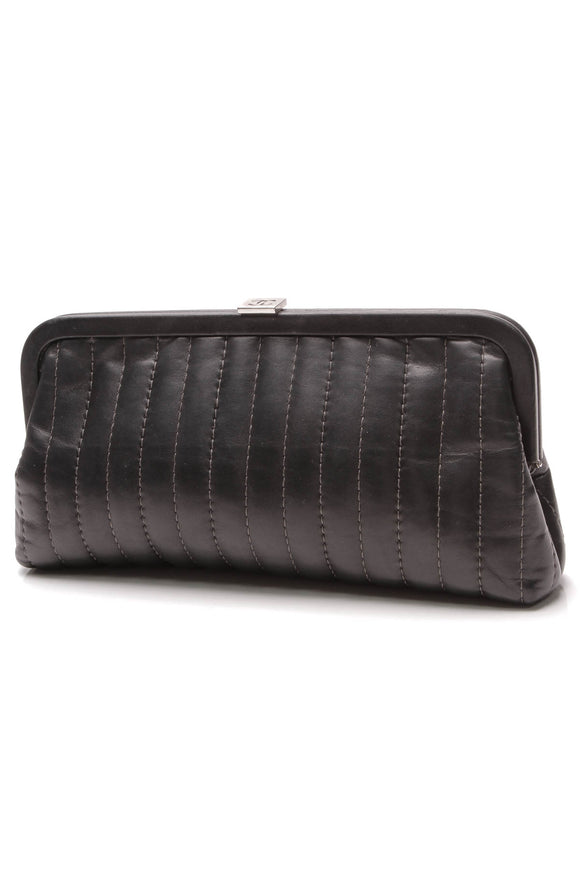 Chanel Vertical Stitch Kiss Lock Clutch Bag Black